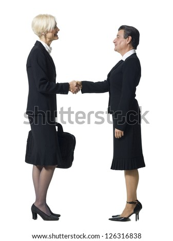 Businesswoman shaking hands with businesswoman with man's head