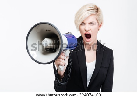 Businesswoman shouting into loudspeaker isolated on a white background