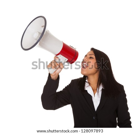 Businesswoman Shouting On Megaphone. Isolated On White