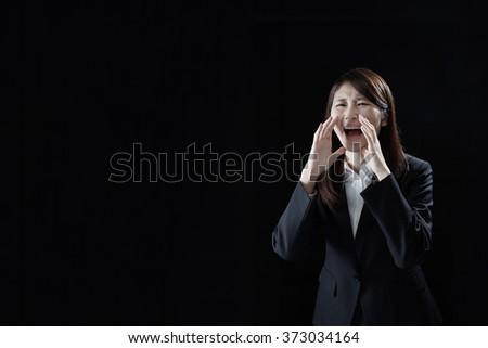 Businesswoman Shouting, SOS - stock photo