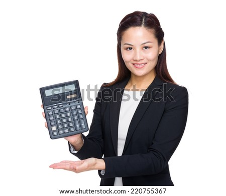 Businesswoman show with calculator