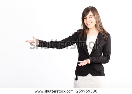 businesswoman showing - stock photo