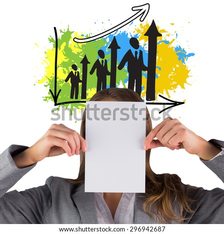 Businesswoman showing a card against human resources bar chart on paint splashes