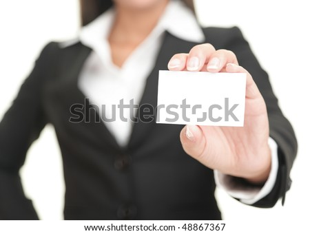 Businesswoman showing and handing a blank business card. Business woman in black suit Isolated on white background. - stock photo