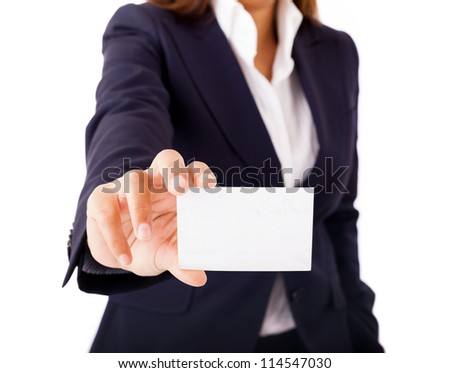 Businesswoman showing and handing a blank business card. Isolated on white background. - stock photo