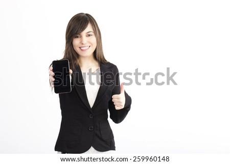 businesswoman showing blank phone - stock photo