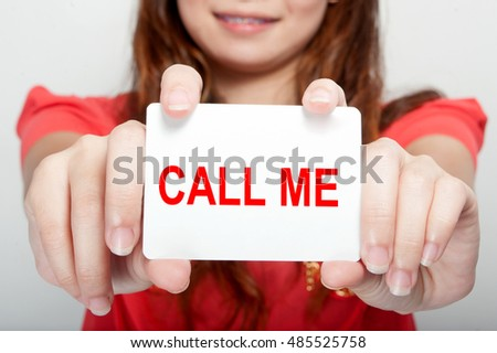 Businesswoman showing card with message,