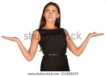 Businesswoman showing empty palms - stock photo
