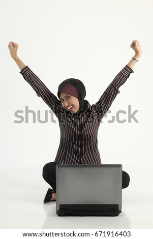 Businesswoman showing happy expression