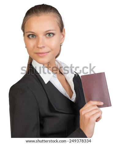 Businesswoman showing passport with blank cover, looking at camera. Isolated over white background - stock photo