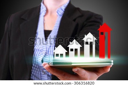 businesswoman showing property concept