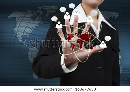 Businesswoman showing success of communication on virtual screen. Concept of marketing growth. - stock photo