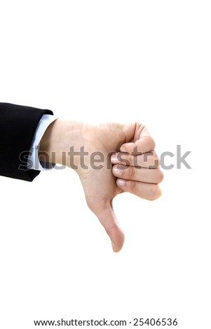 businesswoman showing thumbs down on white background