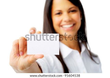 Businesswoman shows a blank card for marketing, isolated on white - stock photo