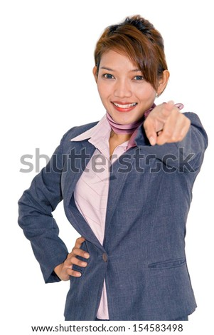 Businesswoman shows his finger forward   - stock photo