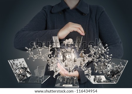 businesswoman shows modern technology as concept - stock photo