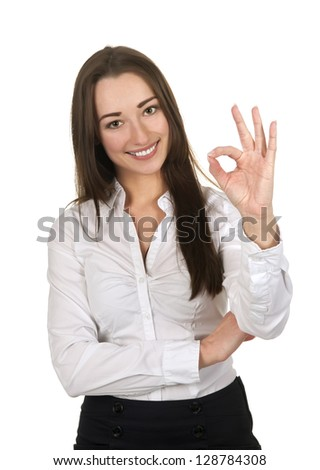 businesswoman shows ok - sign, isolated on white background - stock photo
