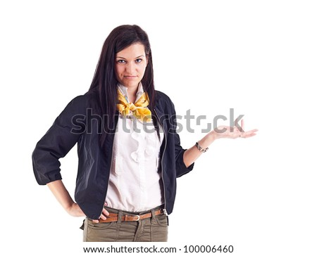 Businesswoman shrugging with I do not know gesture, isolated on white background - stock photo