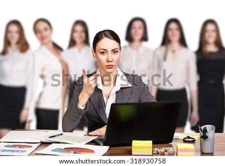Businesswoman sitting at the table and thinking on a white background