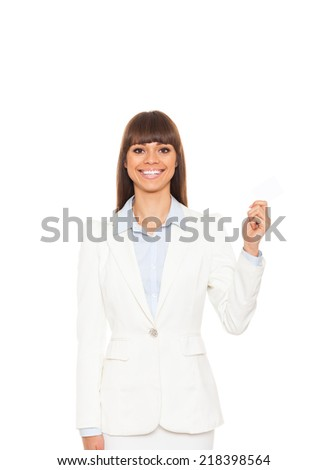Businesswoman smile hold blank business card, business woman give visiting, credit card with empty copy space, isolated over white background - stock photo