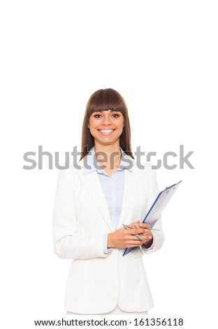 Businesswoman smile, hold blue folder clipboard paper document, young attractive business woman. Isolated over white background - stock photo