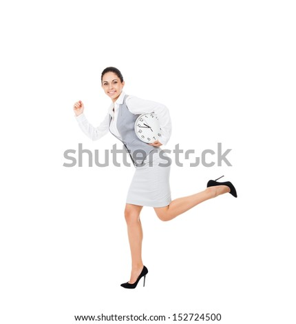 Businesswoman smile running hold clock late, young attractive business woman rush hurry. full length portrait isolated on white background, concept of punctuality - stock photo