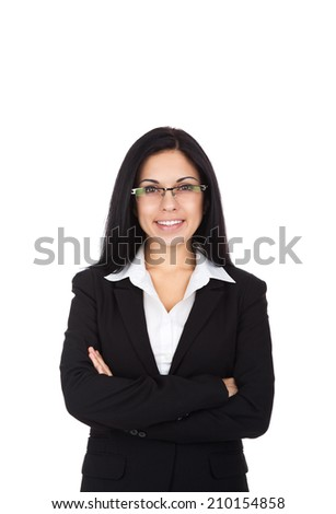 Businesswoman smile, wear eye glasses black suit, young attractive business woman folded hands isolated over white background - stock photo