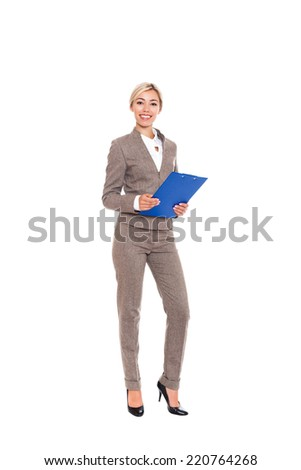 Businesswoman smile, young attractive business woman hold blue folder in hands. Full length isolated over white background - stock photo