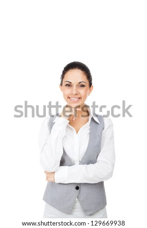 Businesswoman smile, young attractive business woman hold hand on chin. Isolated over white background - stock photo