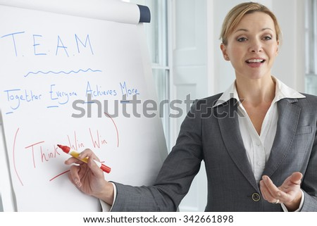Businesswoman Standing At Flipchart Delivering Presentation - stock photo