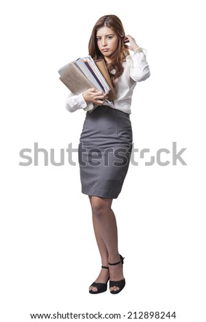 Businesswoman standing bored whit file, Overloaded with heavy files isolated on white background - stock photo