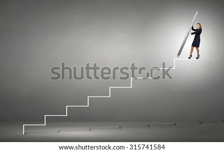 Businesswoman standing on drawn ladder with huge pencil