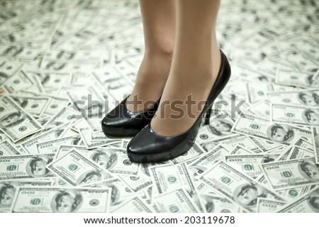 Businesswoman stands on money floor - stock photo