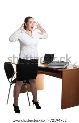 Businesswoman stay near office table and scream - stock photo