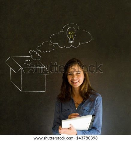 Businesswoman, student or teacher thinking out the box chalk concept blackboard background - stock photo
