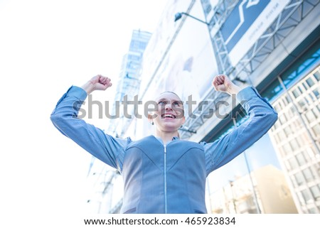 Businesswoman success. Business female, woman. White cheerful, happy, young people, person or girl winning. Victory, win of successful expression adult worker.