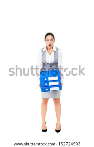 Businesswoman surprised scared, terrified hold stack folder, mouth open, young business woman concept of worried, shock lot of work, full length portrait isolated on white background