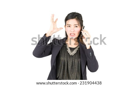 Businesswoman  talking on mobile phone, isolated on white background. - stock photo