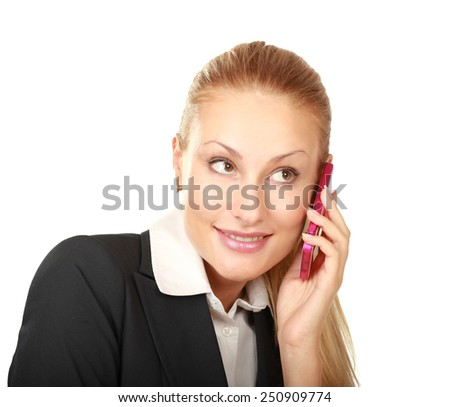 Businesswoman talking on the mobile cell phone isolated over white background - stock photo