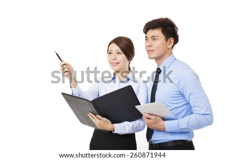 businesswoman talking with businessman isolated on white - stock photo