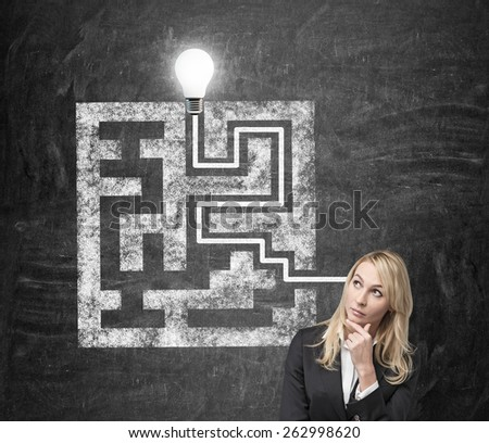 businesswoman thinking and drawing maze on wall - stock photo