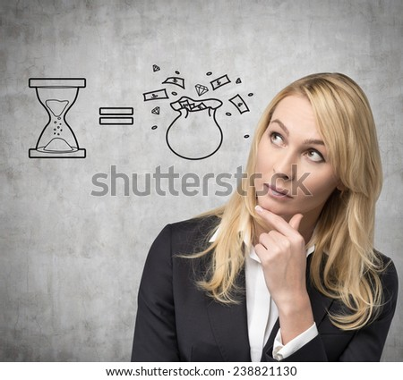 businesswoman thinking and drawing money bag on concrete wall - stock photo