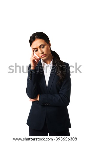 Businesswoman tired because of troubles - stock photo