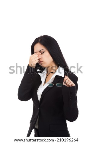 businesswoman tired eyes glasses problem, business woman isolated over white background - stock photo