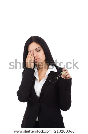businesswoman tired eyes stress glasses problem, business woman isolated over white background - stock photo