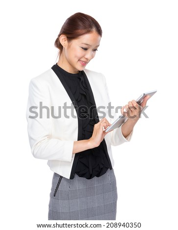 Businesswoman touch on digital tablet