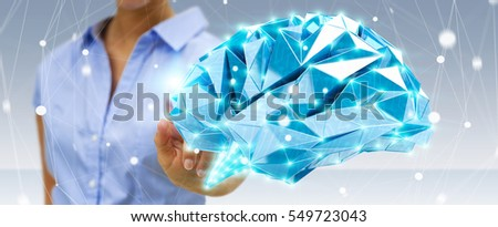 Businesswoman touching digital human brain with cell and neurons activity 3D rendering