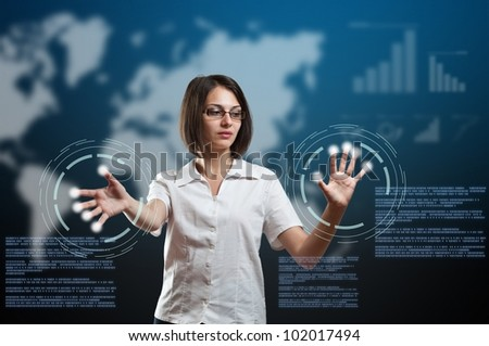 Businesswoman touching fingerprint scanner on virtual interface, futuristic technology - stock photo