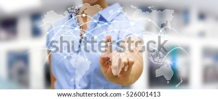 Businesswoman touching global network and data exchanges over the world 3D rendering