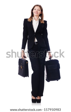 Businesswoman travelling isolated on white